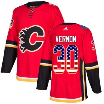 Authentic Adidas Men's Mike Vernon Calgary Flames USA Flag Fashion Jersey - Red