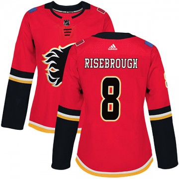 Authentic Adidas Women's Doug Risebrough Calgary Flames Home Jersey - Red